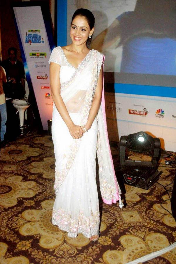 Genelia d'souza in a white saree
