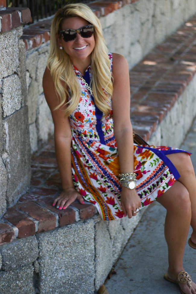 9f9f117314 Dress : Deena Woven Print ShirtDress (only $30) | Sandals : Tory Burch  Miller Sandal | Bag : Tory Burch Robinson Leather Crossbody | Sunglasses :  Karen ...