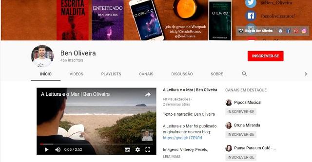 Imagem Canal YouTube do Escritor Ben Oliveira