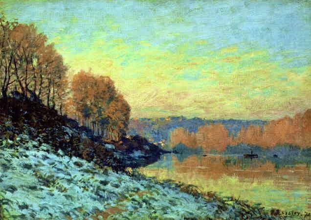 O Senna em Bougival no Inverno - Alfred Sisley ~ Um dos mais representativos paisagistas do impressionismo