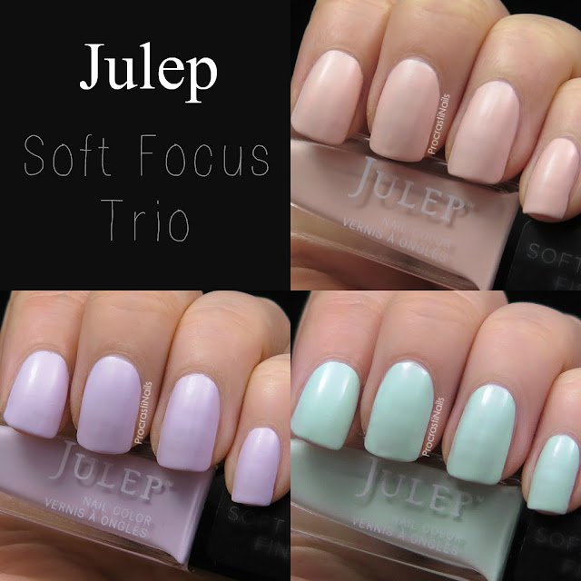 Swatches of Julep's Soft Focus Trio of Ali, Janet and Lulu