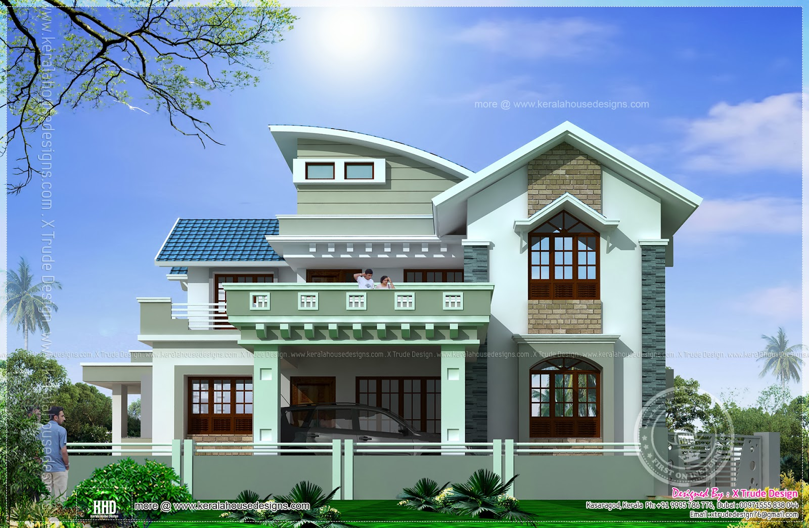 Beautiful 2138 square feet house elevation kerala home for Khd home elevation