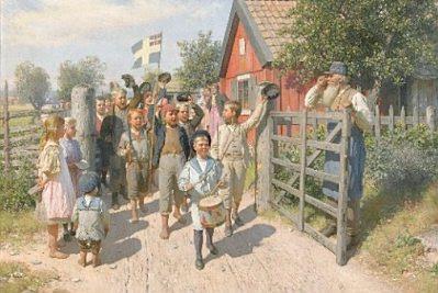 Swedish National Day: 'Det gamla och det nya sverige', by August Malmström, 1897