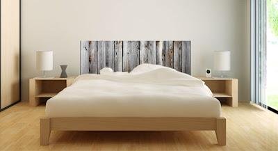 Stickers tête de lit en bois cérusé