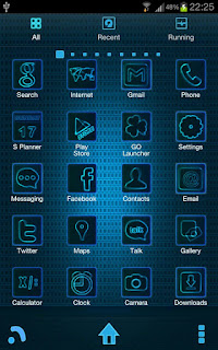 Glowing Blue Theme Android Indonesia untuk GoLauncher