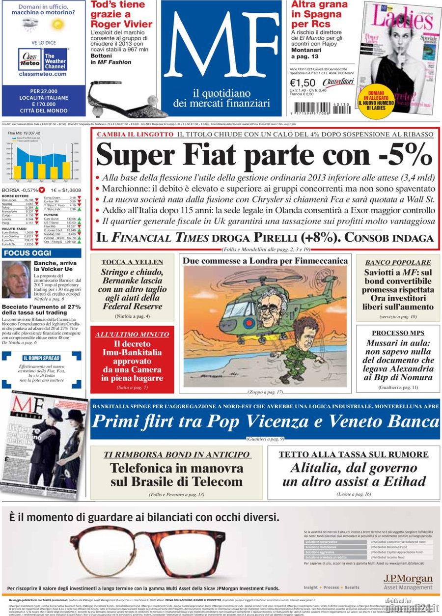 LE PRIME PAGINE DEI QUOTIDIANI. Grillini all'attacco, rissa in Aula. Renzi-Berlusconi, ecco la riforma: fuori i partiti sotto il 4,5%. Niente Imu, cambia il catasto