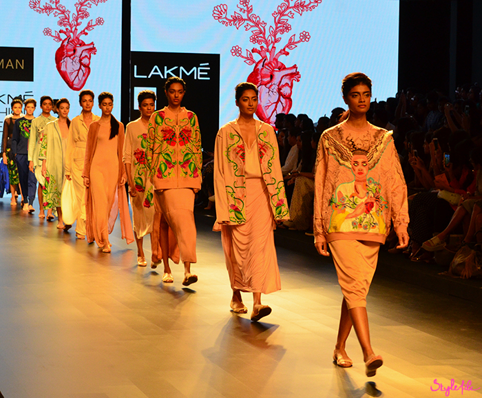 Indian designer Aiman displays fashion garments and clothing at Lakme Fashion Week Summer Resort 2016 captured by Style File at St. Regis Mumbai