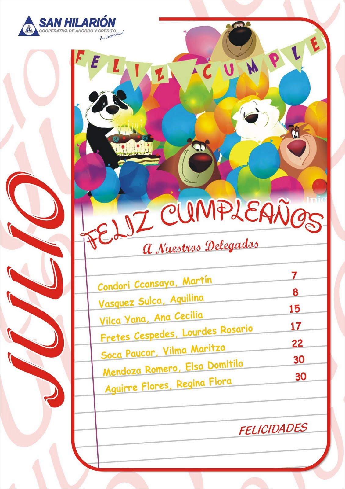 Cooperativa san hilari n julio feliz cumplea os a for Alberca 8 de julio