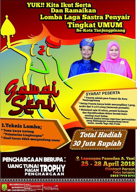 Gawai Seni 2018 Tanjung Pinang (25-28 April 2018) - Lomba Laga Sastra Penyair