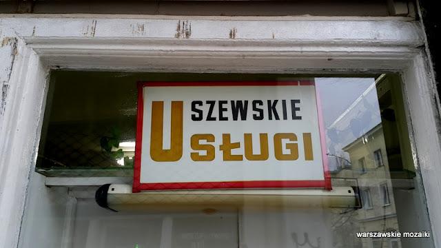 Warszawa Warsaw szyld usługi