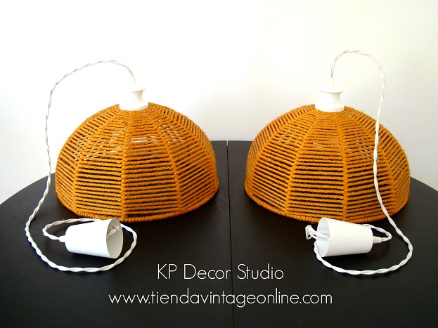 Lámparas de techo vinatge fabricadas con cuerdas estilo vintage danés