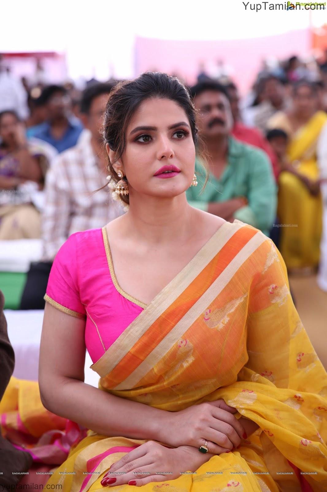 Zareen Khan Hot Saree Photos-Wearing Silk Saree Pictures