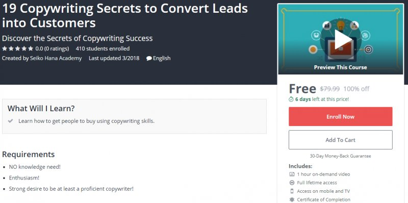100 Off 19 Copywriting Secrets To Convert Leads Into Customers Worth 79 99