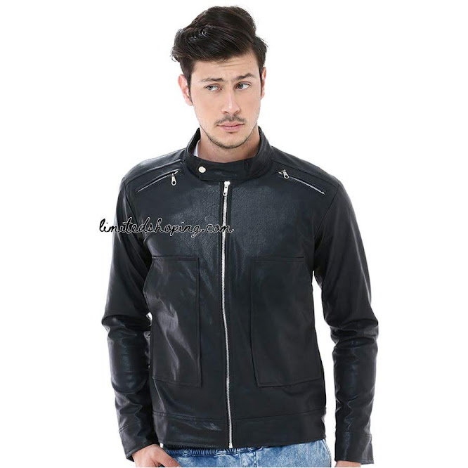 limited shoping sk26 hitam jaket kulit korean style