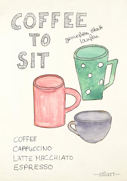 Coffee to sit, watercolor, ink