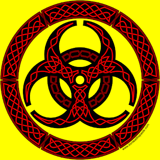 Biohazard symbol knotwork- blank coloring page available