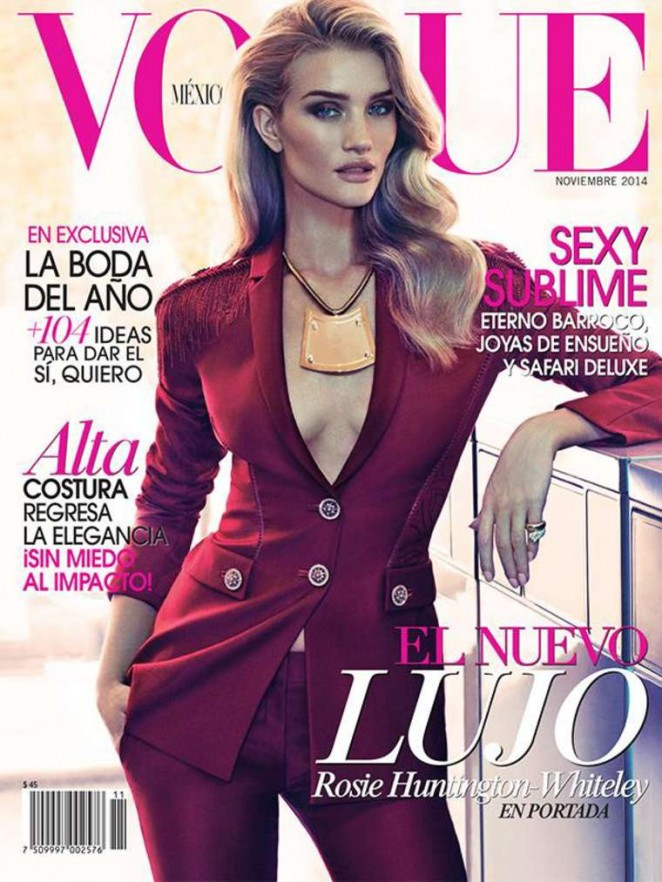 Rosie Huntington Whiteley poses in a Versace pant suit for Vogue Mexico November 2014