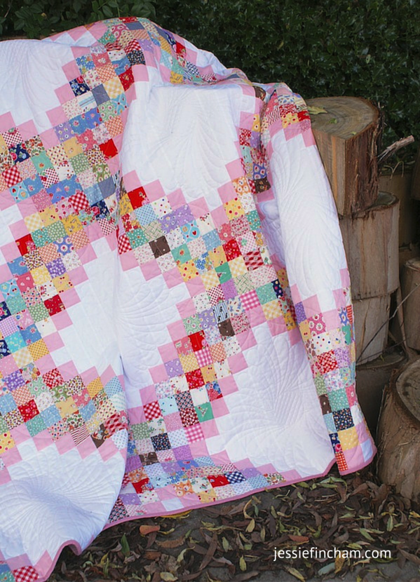"""Scrappy Irish Chain"" Free Scrap Quilt Pattern designed by Jessie Fincham from Messy Jesse"