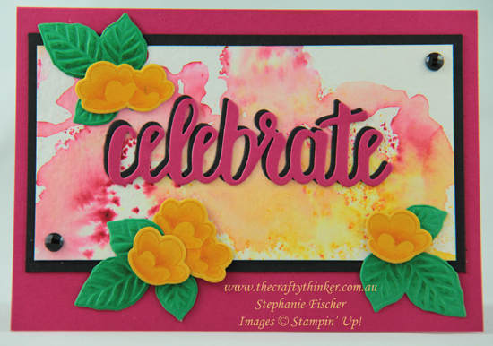 #thecraftythinker  #stampinup  #cardmaking  #serenegardenbundle  #brusho , Serene Garden Bundle, Nature's Roots dies, Brusho Crystals, Celebrate You dies, Stampin' Up Australia Demonstrator, Stephanie Fischer, Sydney NSW
