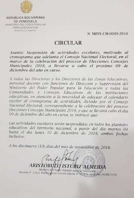 Suspensión de clases con motivo de las elecciones a concejales del 9Dic ya tiene fecha