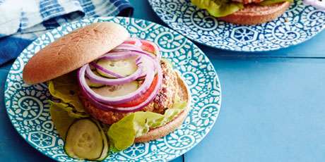 These easy Middle Eastern chicken burgers are brushed with pomegranate molasses and serve Middle Eastern Chicken Burgers Recipe