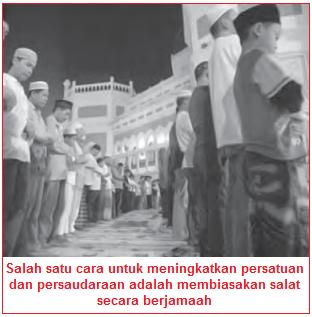 Contoh cara menjaga persatuan adalah dengan sholat berjamaah