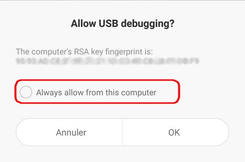 Autoriser débogage USB Mi4i
