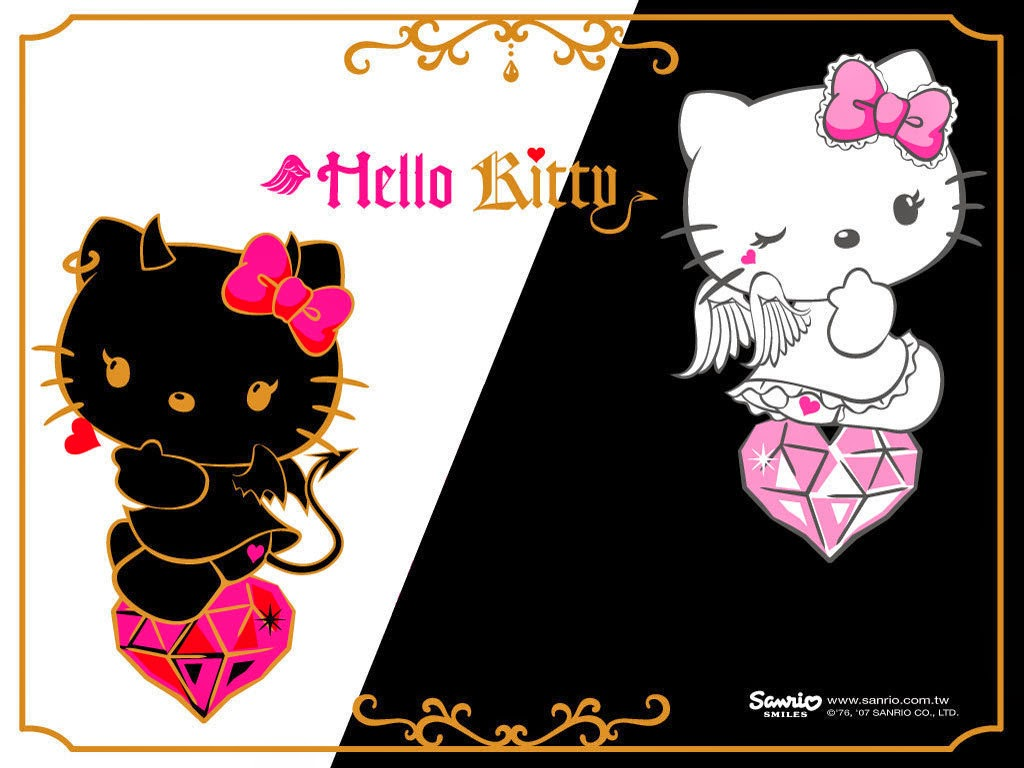 Gambar Wallpaper Hello Kitty HD Black White Pink