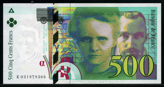 France bank money euro currency 500 French francs banknote bill