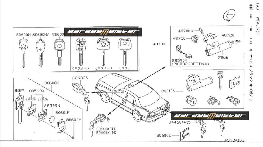 TWY TRADING: Nissan BNR34 OEM Genuine Parts Diagrams