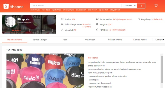 RN sports - SHOPEE.CO.ID