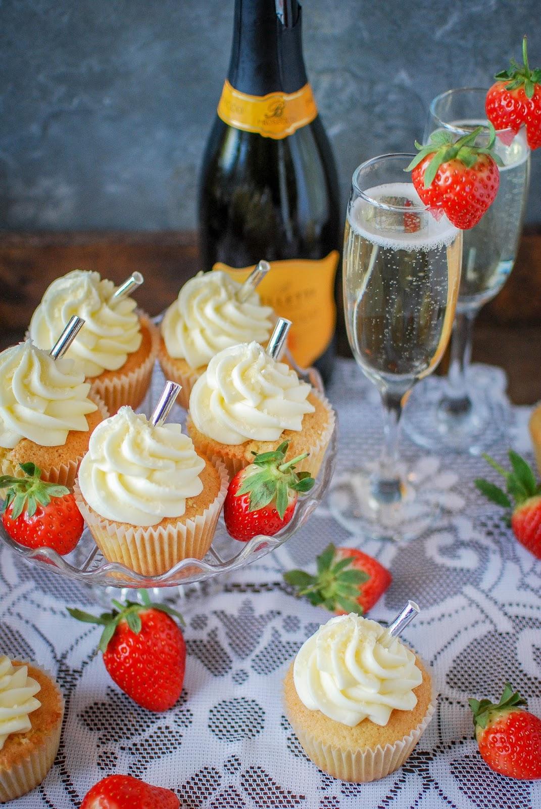 Strawberry Prosecco Cupcakes