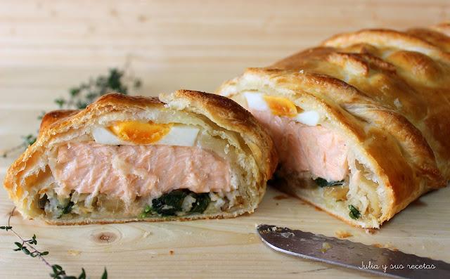 Kulibiak o pastel ruso de salmón. Julia y sus recetas