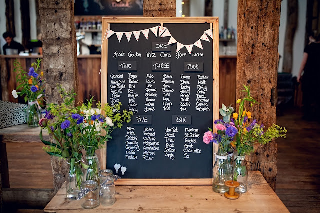 Rustic blackboard with table settings written on in white chalk