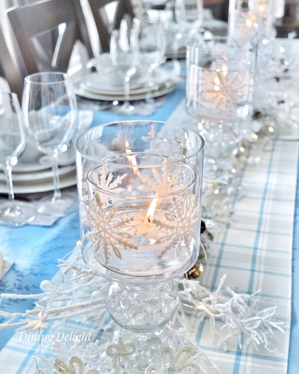 Winter Blues Snowflake Tablescape