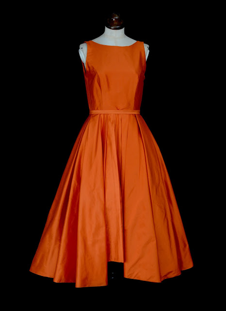 Orange silk dress by Alexandra King