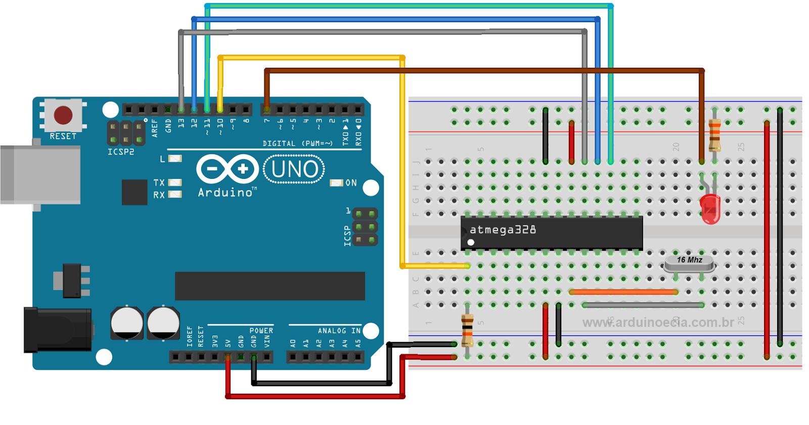 Gravando bootloader no atmega usando arduino
