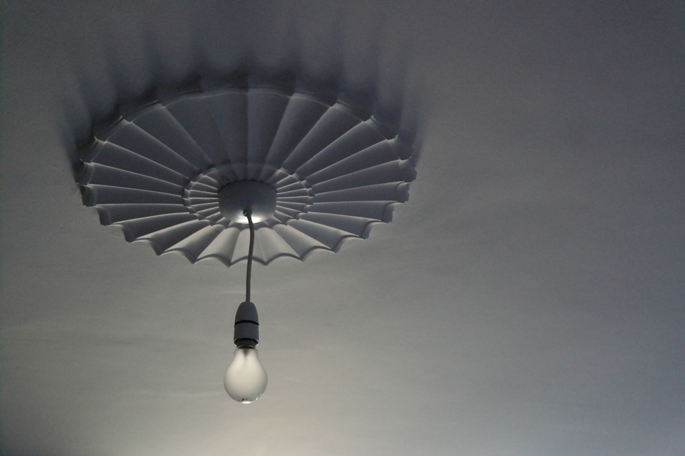 Bare lightbulb hanging from starburst ceiling rose. Not all bloggers live in pristine white palaces.