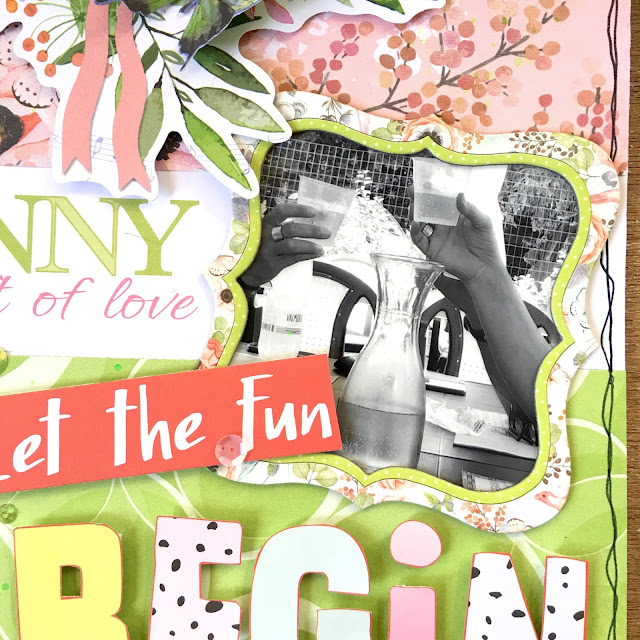 Let The Fun Begin Scrapbook Page by Angela Tombari featuring BoBunny Butterfly Kisses Collection