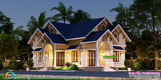 Night view rendering of Sloping roof western model 3 BHK house