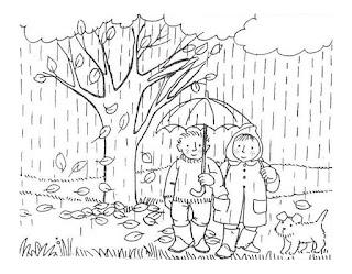 דפי צביעה גשם סתיו