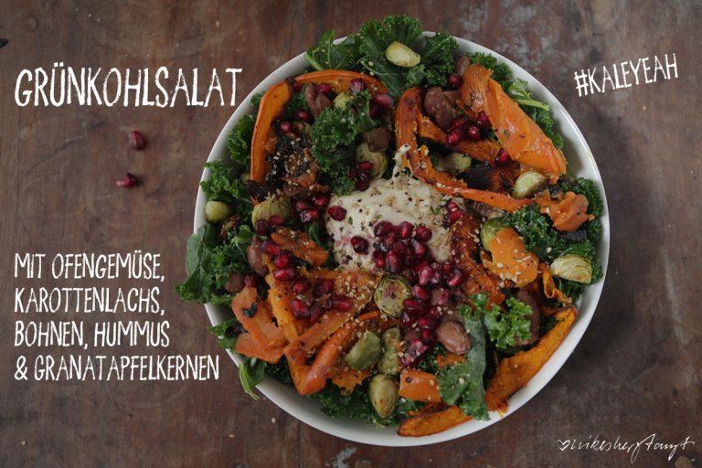 Rezept Grünkohlsalat mit Ofengemüse, Karottenlachs, Bohnen, Hummus & Granatapfelkernen von Nikes Herz tanzt, clean eating, logi Ernährung, gesunde Ernährung, vegetarisches Rezept