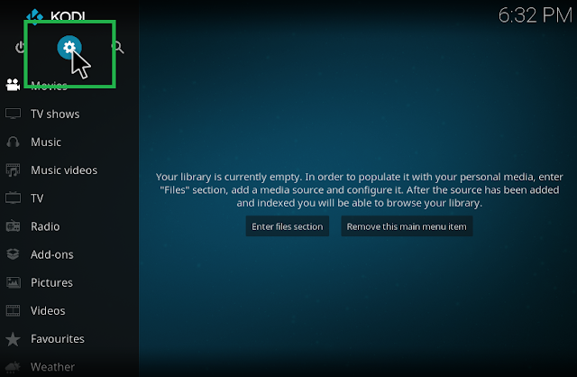 click setting icon to begin change skin for kodi
