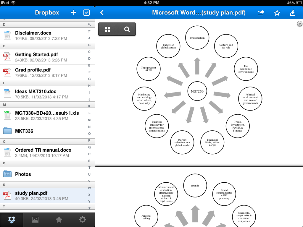 Dropbox view from iPad.