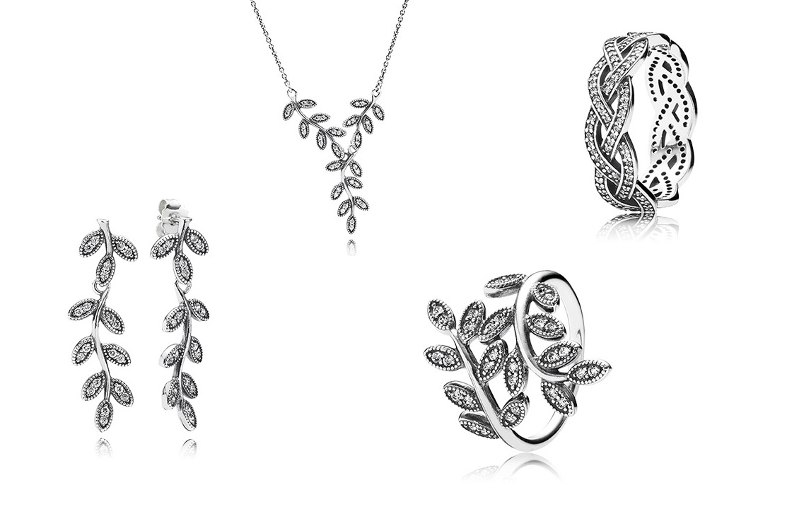 Pandora, shimmering, leaves, jewellery