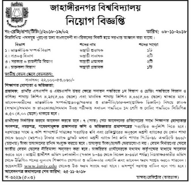 Jahangirnagar University (JU) Job Circular 2018