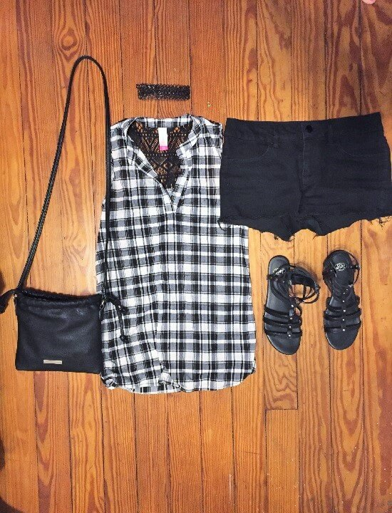 black and white plaid tank top outfit of the day