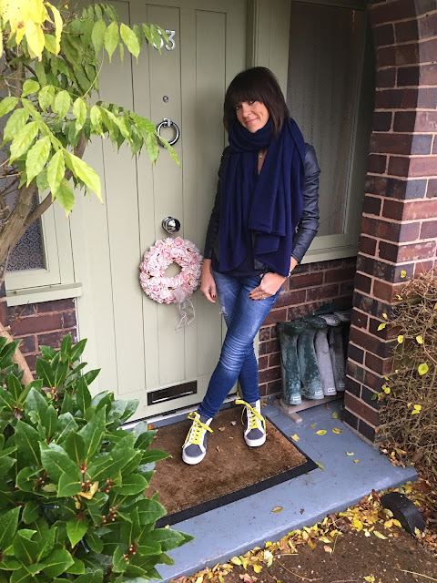 My Midlife Fashion, Zara Cashmere scarf, marks and spencer faux leather quilted biker jacket, zara skinny distressed denim jeans, boden relaxed fit cashmere jumper, boden hi tops