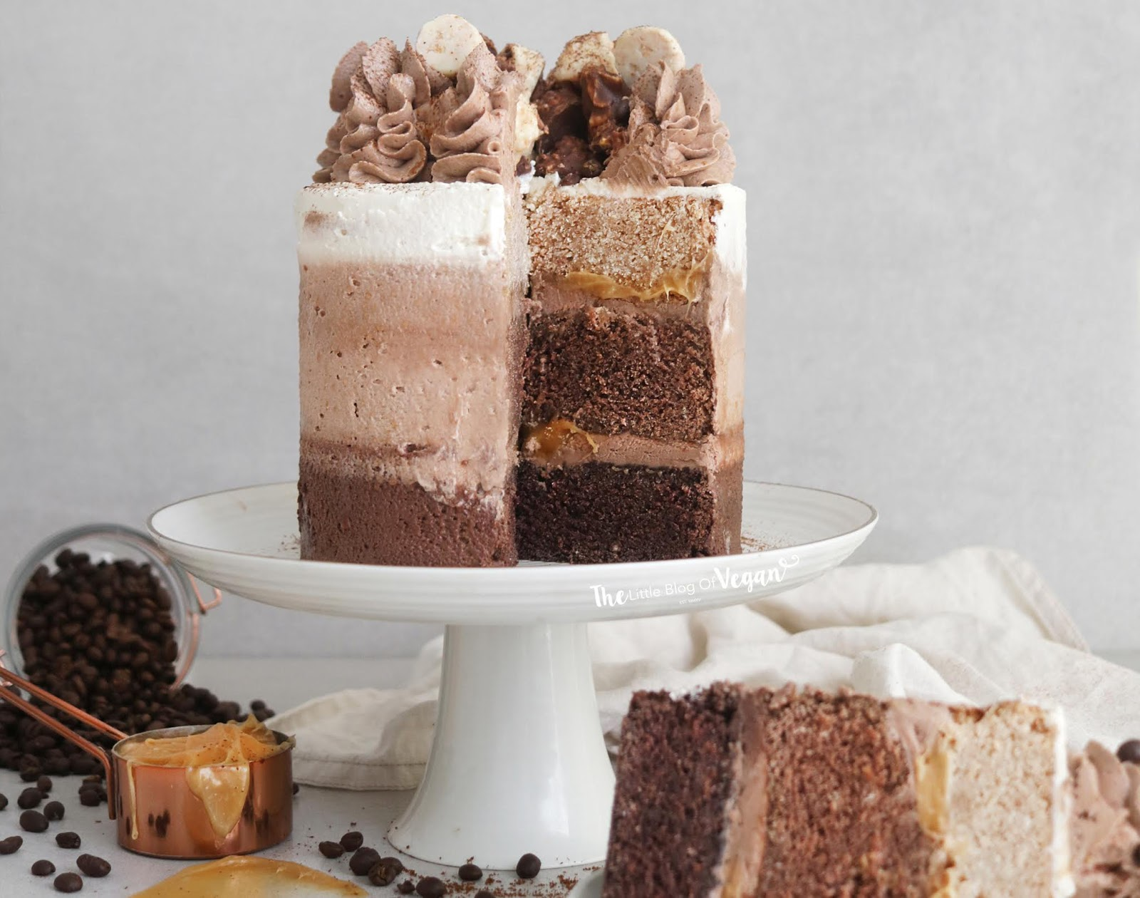 Excellent Chocolate Coffee Ombre Cake The Little Blog Of Vegan Personalised Birthday Cards Vishlily Jamesorg