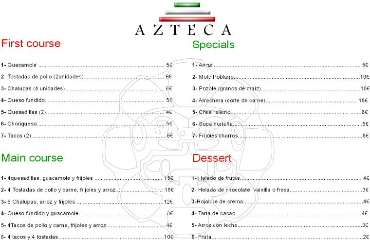 Mexican Restaurant Menu With Prices